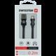 SWISSTEN datový kabel USB - Lightning, M/M, 3A, opletený, 0.2m, černá