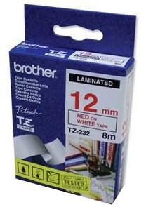Brother TZE-232, bílá/červená, 12mm