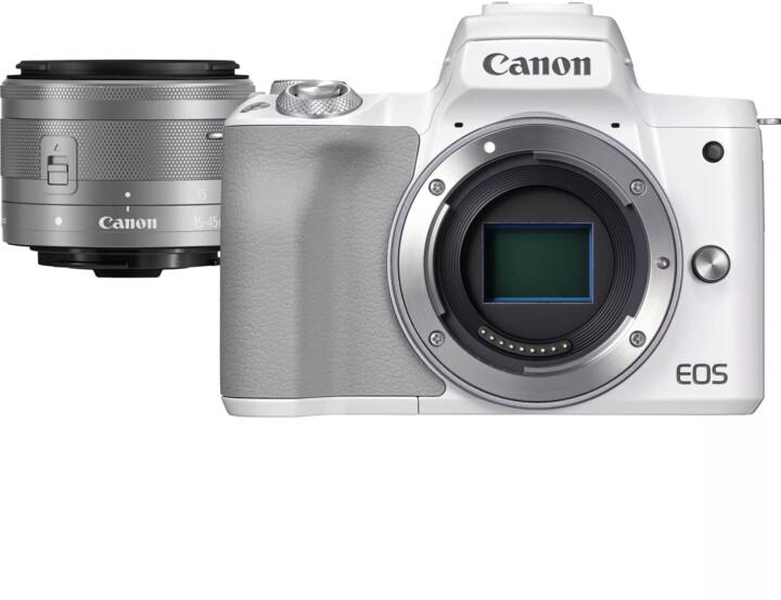 Canon EOS M50 Mark II, bílá + EF-M 15-45mm IS STM