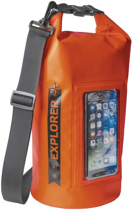 """CELLY voděodolný vak Explorer 5L s kapsou na telefon do 6,2"""", oranžový"""