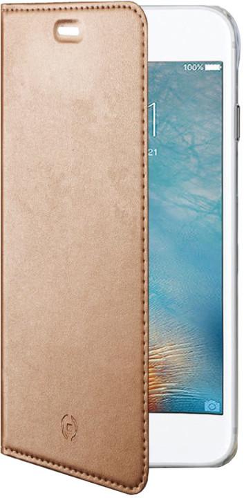 CELLY Air ultra tenké pouzdro typu kniha pro Apple iPhone 7 Plus, PU kůže, růžovozlaté