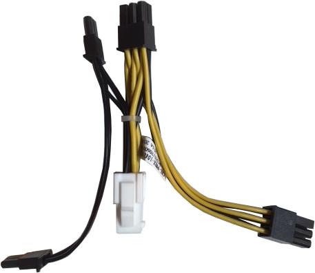 SuperMicro CPU 8 pin female(White) to GPU 6/6+2 pin male(Black) power adapter, 5cm, 16/ 20AWG