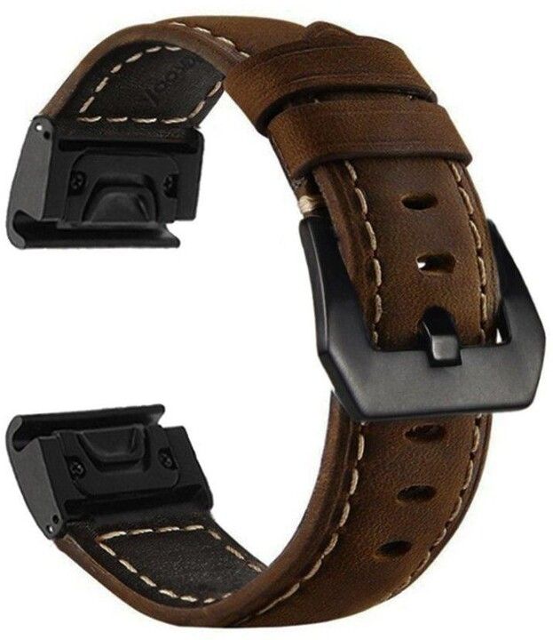 MAX kožený řemínek MGS03 pro Garmin Fenix 5X, 26mm, hnědá