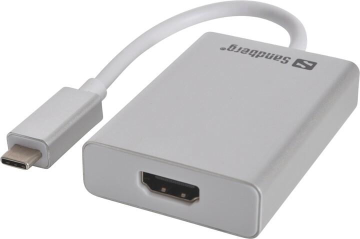 Sandberg USB-C do HDMI konvertor, stříbrná