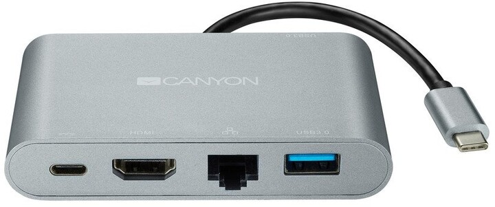 Canyon dokovací stanice, USB-C, USB-A, HDMI, RJ45, PD, 60W, šedá