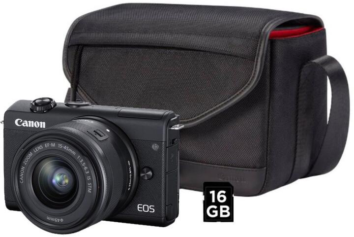 Canon EOS M200, černá + EF-M 15-45mm IS STM + SB130 + karta 16GB