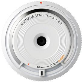 Olympus Body Cap Lens 15mm f/8, bílá