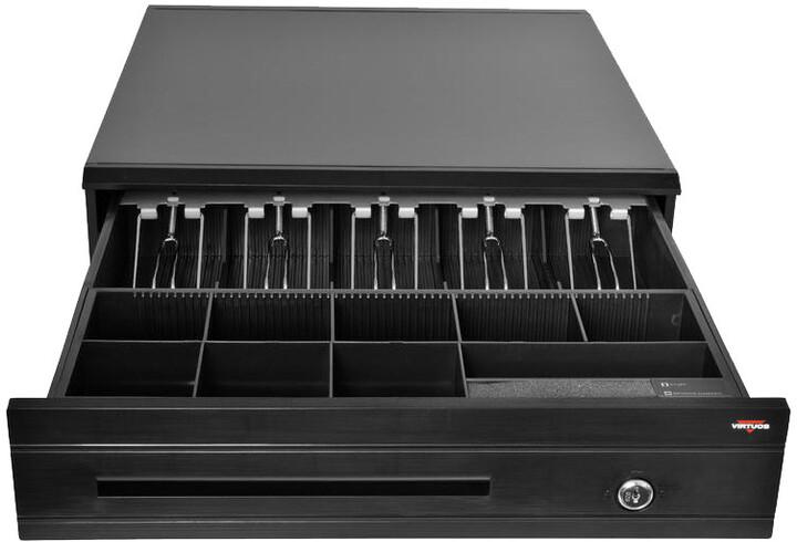 Virtuos pokladní zásuvka C425C, s kabelem, kovové držáky, 9-24V, černá