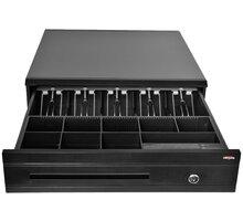 Virtuos pokladní zásuvka C425C, s kabelem, kovové držáky, 9-24V, černá - EKN0112