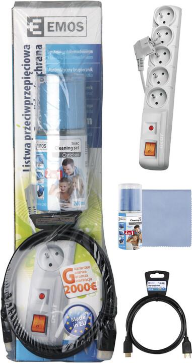 Startrkit TV - Přepěťová ochrana 1,5m, HDMI + Ethernet 1,5m, Čistící set 200 ml + utěrka