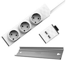 PowerCube modulární zásuvkový systém PowerStrip Modular Switch, 3 zásuvky, 1.5m, bílá + Modul Strip Rail + USB modul