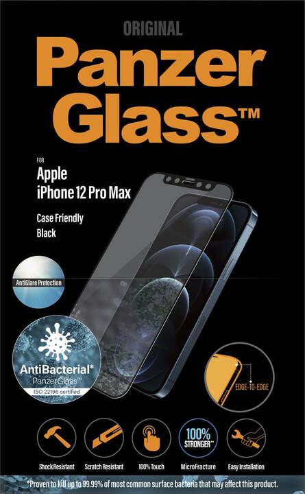 PanzerGlass ochranné sklo Edge-to-Edge pro iPhone 12 Pro Max, antibakteriální, Anti-Glare, 0.4mm černá
