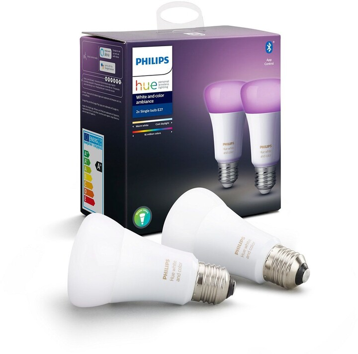 Philips Hue 2SET žárovka E27, 9W, 16 mil. barev, Bluetooth