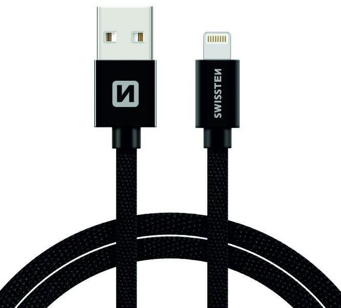 SWISSTEN textilní datový kabel USB A/M Lightning, 3m, černý