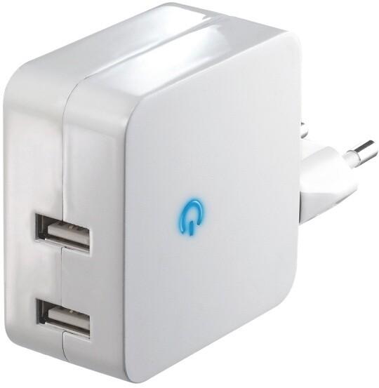 Emos nabíječka, 2 x USB, 2.1A - 5V, bílá