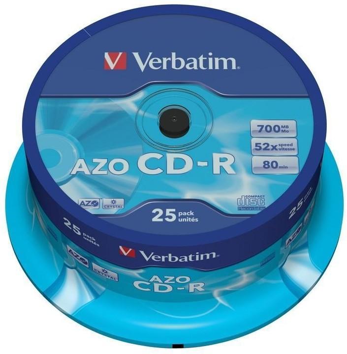 Verbatim CDR AZO Crystal 52x 80 minut spindl 25ks