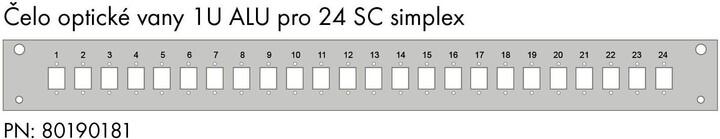 Solarix čelo optické vany 1U, pro 24 SC simplex, E2000, LC duplex