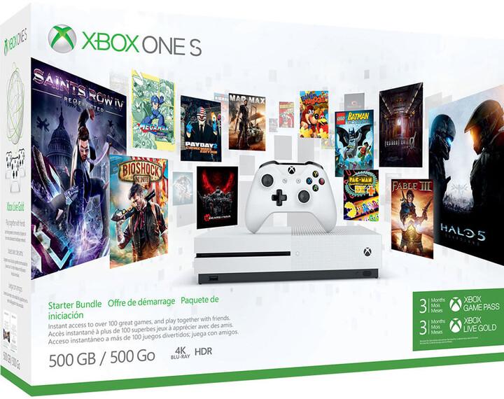 XBOX ONE S, 500GB, bílá, 3M Game pass + 3M Xbox live