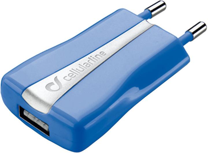 CellularLine cestovní nabíječka s USB výstupem, modrá