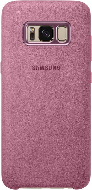Samsung S8+, zadní kryt - kůže Alcantara, růžová