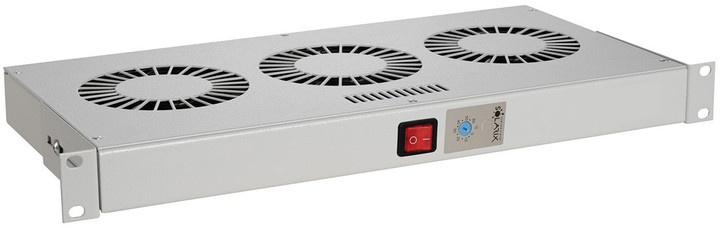 """Solarix chladící jednotka 19""""¨, 1U, 2 větráky s bimetalovým termostat., RAL 7035, do 19"""" lišt"""