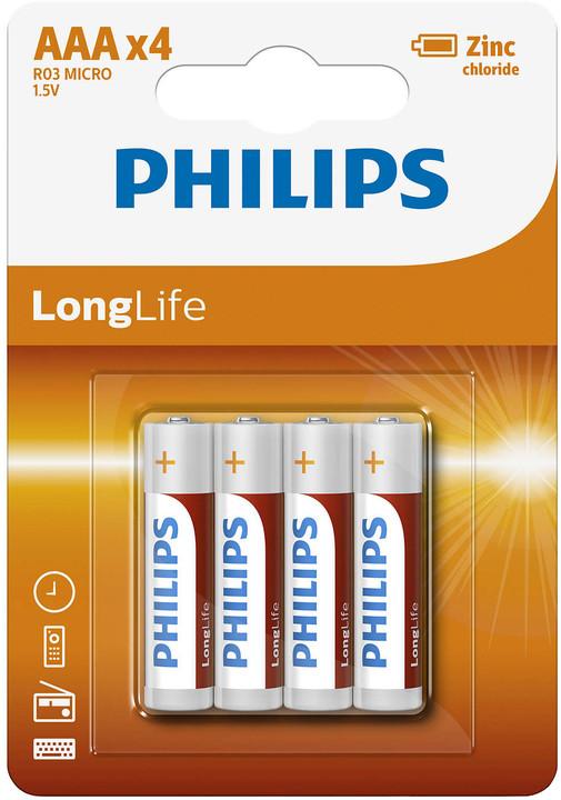 Philips AAA LongLife zinkochloridová - 4ks, blister