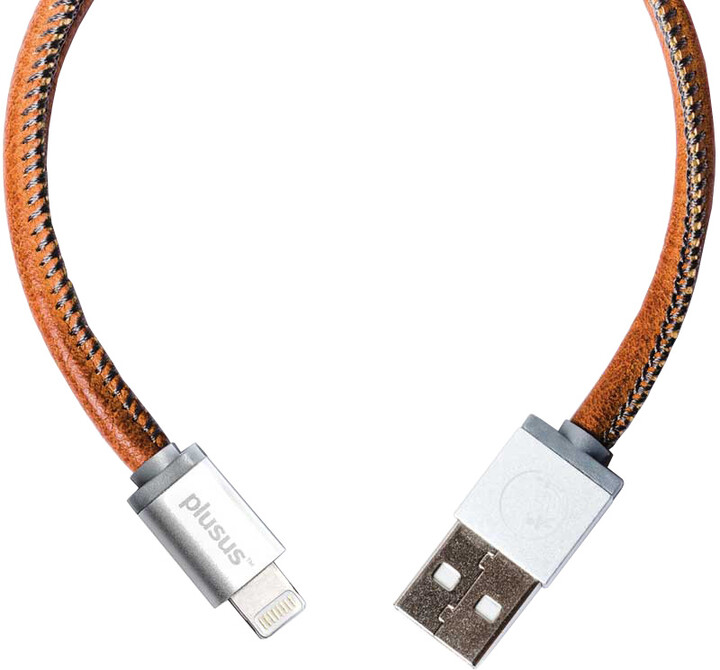 PlusUs LifeStar Handcrafted USB Charge & Sync cable (25cm) Lightning - Silver / Dark Grey