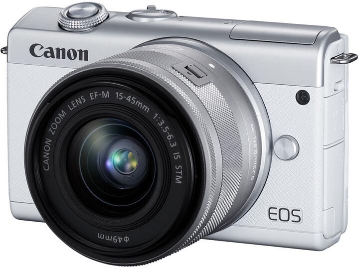 Canon EOS M200, bílá + EF-M 15-45mm IS STM