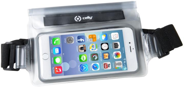 """CELLY Splash Belt sportovní voděodolné pouzdro okolo pasu pro telefony 5,7 """", bílé"""