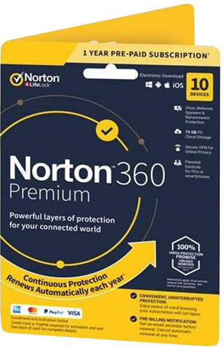 Symantec Norton 360 Premium 75GB + VPN 1 uživatel, 10 zařízení, 1 rok