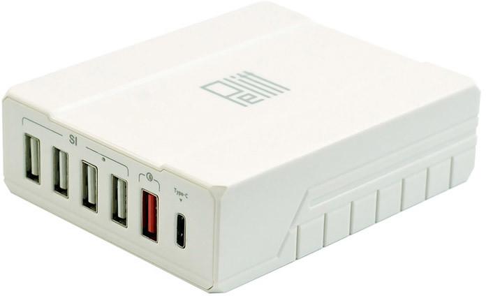 Pelitt nabíjecí stanice P-6Q, 4x USB, QQCP, USB-C, bílá