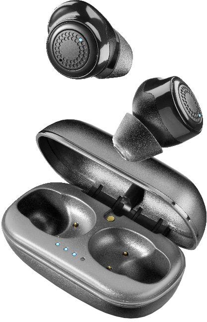 Cellularline True wireless sluchátka PETIT s dobíjecím pouzdrem, černá