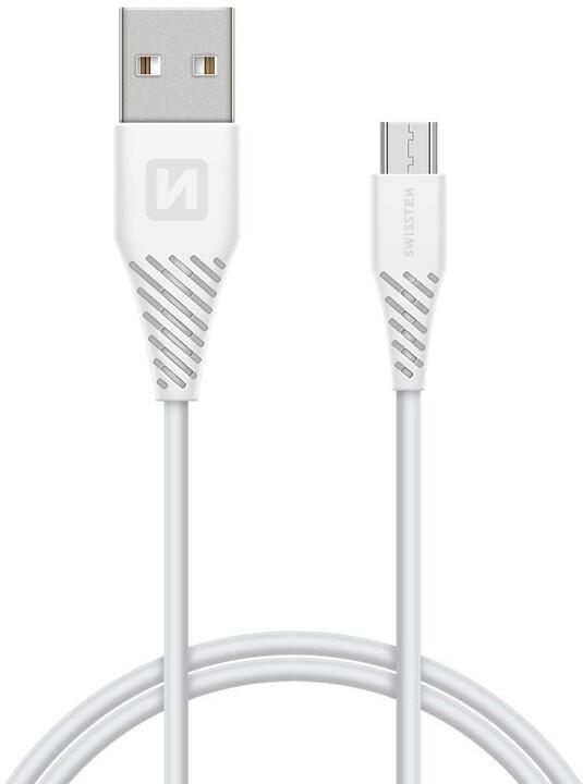 SWISSTEN datový kabel USB A-B micro, 1,5m, bílý