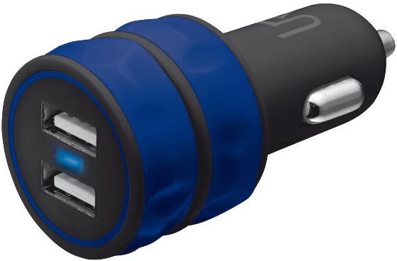 Trust USB nabíječka do auta 10W, 2xUSB 1A, modrá