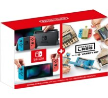 Nintendo Switch, červená/modrá + Nintendo Labo Variety Kit NSH072