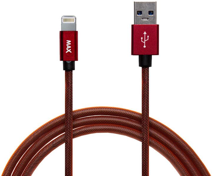 MAX kabel Lightning opletený, 1m, červená