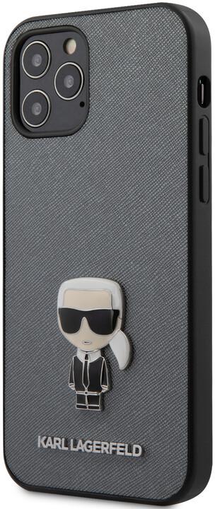 """KARL LAGERFELD ochranný kryt Saffiano Iconic pro iPhone 12/ 12 Pro (6.1""""), stříbrná"""