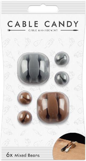 Cable Candy kabelový organizér Mixed Beans, 6 ks, šedá a hnědá