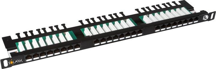 """Solarix 19"""" Patch panel 24xRJ45 CAT5E UTP s vyvaz.lištou černý 0,5U, SX24HD-5E-UTP-BK"""