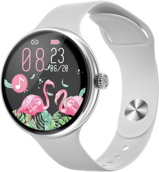 IMMAX chytré hodinky Lady Music Fit, stříbrná