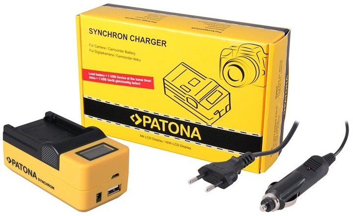 Patona nabíječka foto Synchron Canon BP-110 230V/12V, LCD+USB