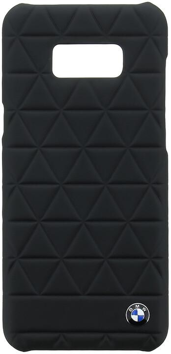 BMW Hexagon kožený zadní kryt pro Samsung G955 Galaxy S8 Plus, černý