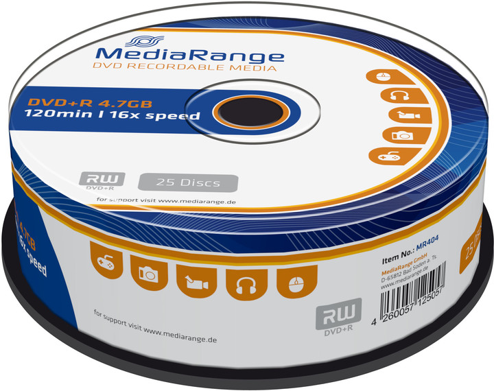 MediaRange DVD+R 4,7GB 16x, Spindle 25ks