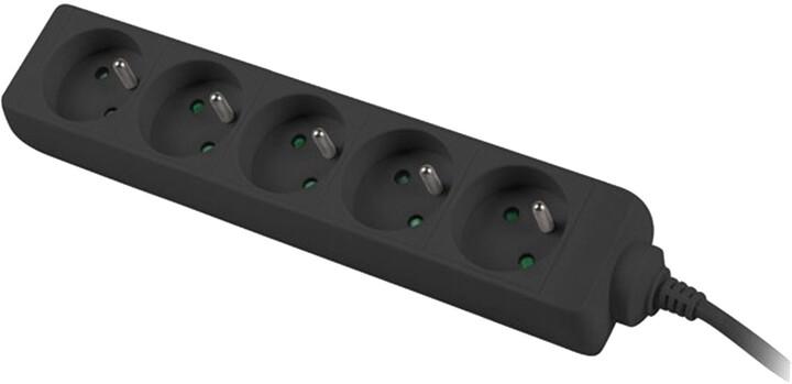 PremiumCord prodlužovací přívod 230V 3m 5 zásuvek, černá