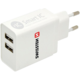 SWISSTEN travel charger smart IC with 2x USB 3,1A Power, bílá