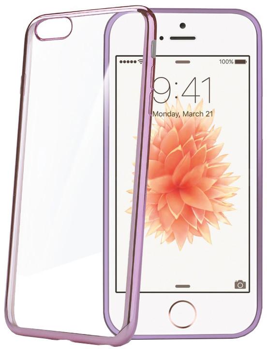 CELLY Laser pouzdro pro Apple iPhone SE, růžové s kovovým efektem