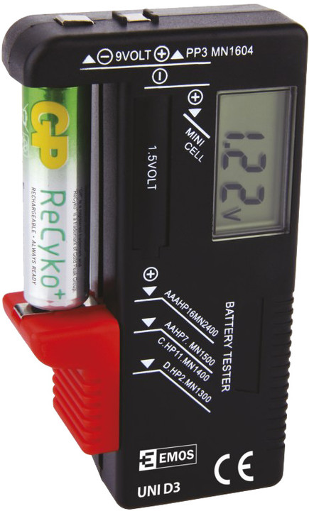 Emos tester baterií UNI D3 - AA, AAA, C, D, 9V a knoflíkové, LCD displej