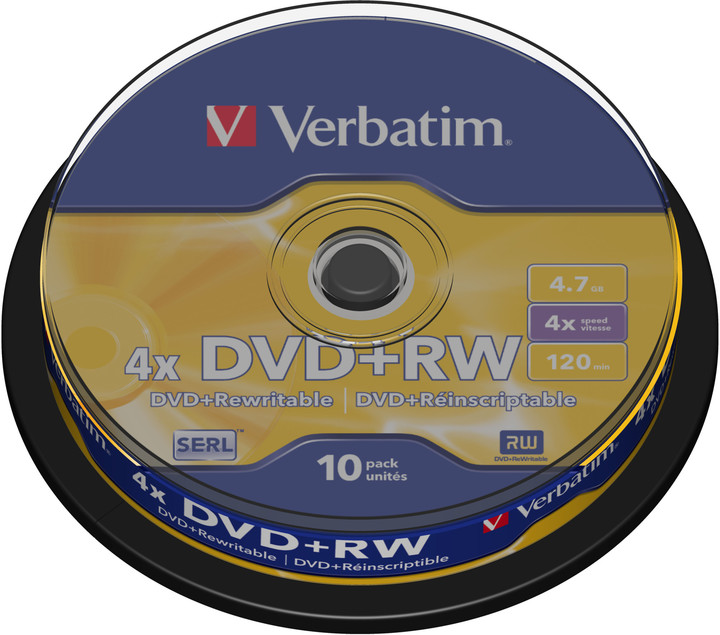 Verbatim DVD+RW 4.7GB 4x, 10ks, spindle