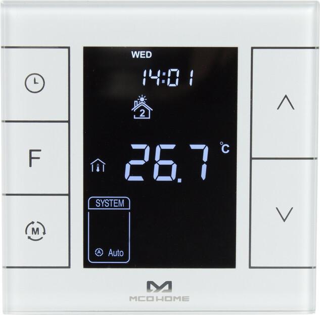 MCOHome termostat pro vodní topení a kotle V2, externí čidlo, Z-Wave Plus, bílá