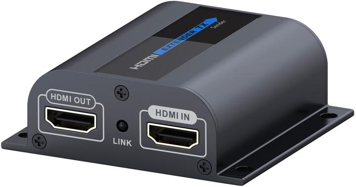 PremiumCord HDMI extender na 60m přes jeden kabel Cat6/6a/7, lokální HDMI výstup